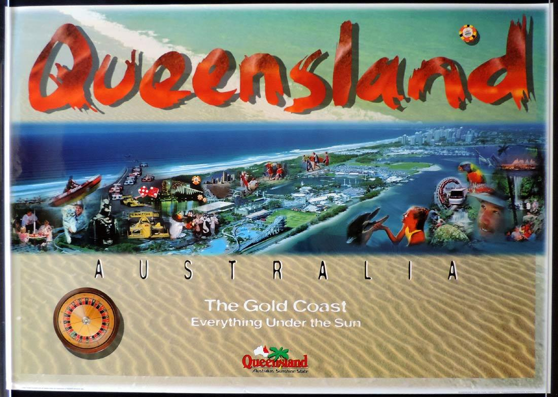 QUEENSLAND Vintage Travel poster THE GOLD COAST 1990s