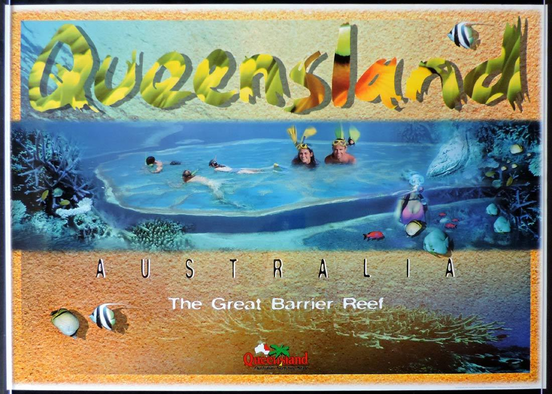 QUEENSLAND Vintage Travel poster GREAT BARRIER REEF 1990s