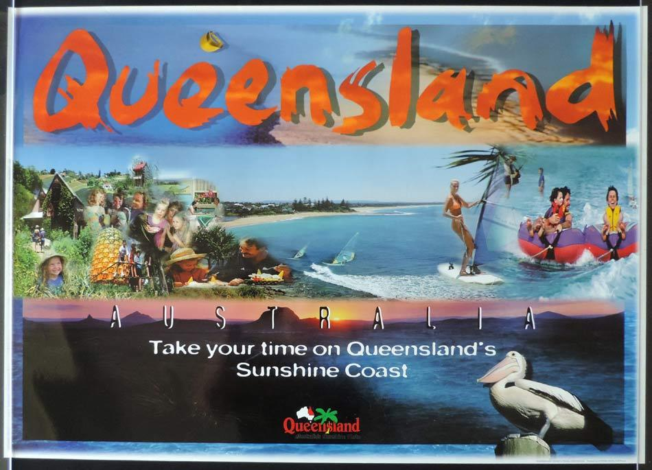 QUEENSLAND Vintage Travel poster THE SUNSHINE COAST 1990s