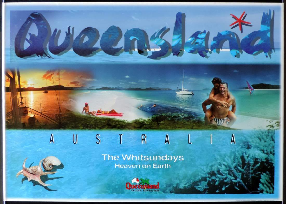 QUEENSLAND Vintage Travel poster THE WHITSUNDAYS 1990s