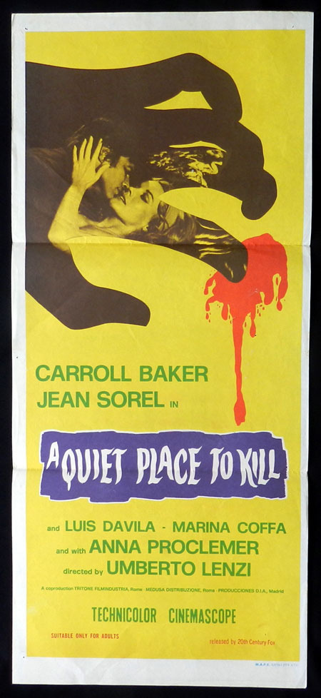 A QUIET PLACE TO KILL aka PARANOIA Daybill Movie Poster 1970 Carroll Baker GIALLO