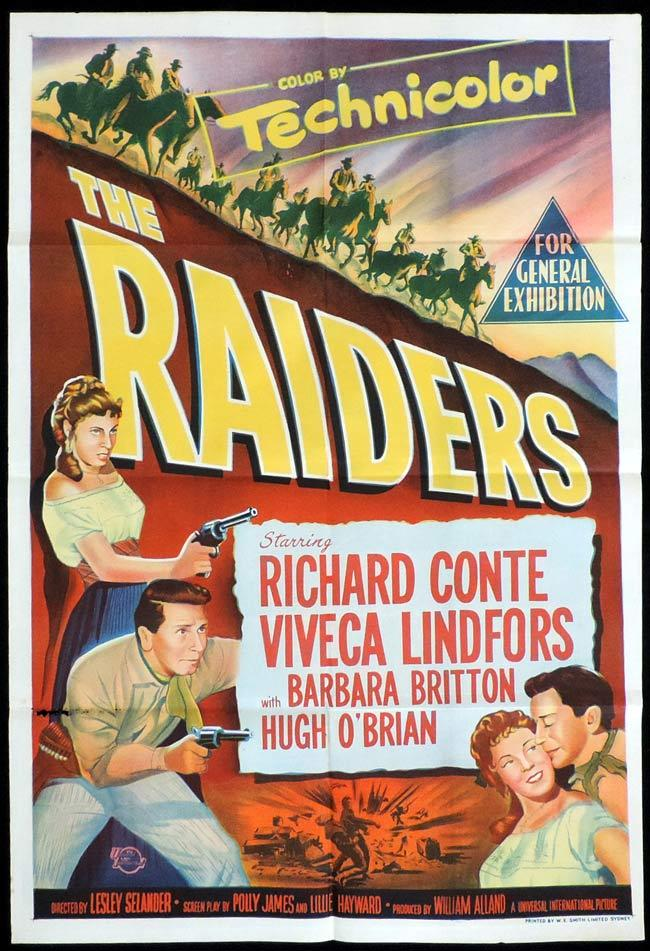 THE RAIDERS Original One sheet Movie Poster Richard Conte Viveca Lindfors