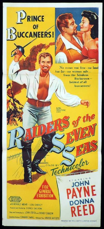 RAIDERS OF THE SEVEN SEAS Daybill Movie Poster John Payne