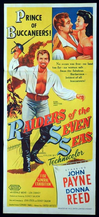 RAIDERS OF THE SEVEN SEAS Original Daybill Movie Poster John Payne Donna Reed