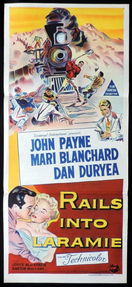 RAILS INTO LARAMIE Original Daybill Movie Poster Mari Blanchard John Payne