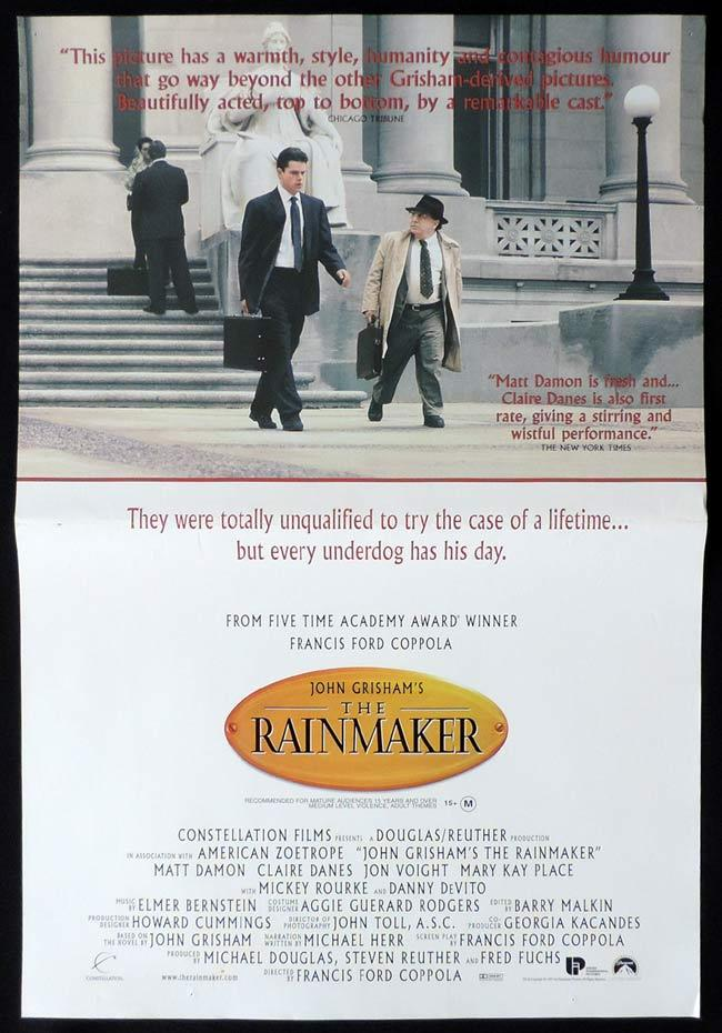 a review of the rainmaker a novel by john grisham and the movie by francis ford copolla Francis ford coppola's the rainmaker is one of the best and most underrated movies of the 90's of course the movie does not have the same effect and emotion of the godfather or apocalypse now, but i ask you, what does.