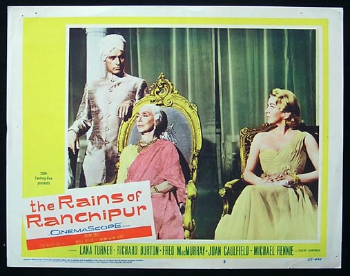 RAINS OF RANCHIPUR Lobby Card 3 Lana Turner Richard Burton