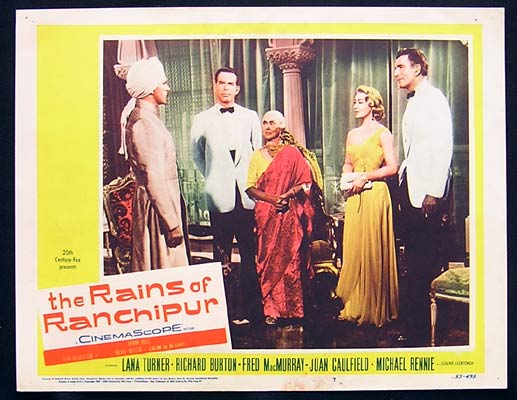 The Rains of Ranchipur, Lana Turner, Richard Burton, Fred MacMurray, Joan Caulfield, Michael Rennie, Lobby Card, Movie Poster 