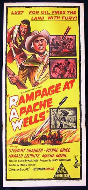 RAMPAGE AT APACHE WELLS Daybill Movie poster Stewart Granger