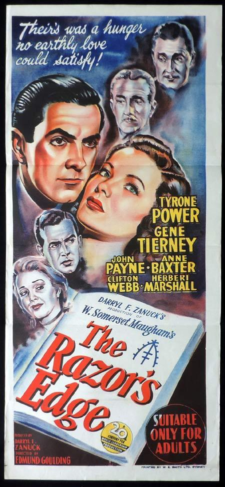 THE RAZOR'S EDGE Original Daybill Movie Poster Tyrone Power Gene Tierney