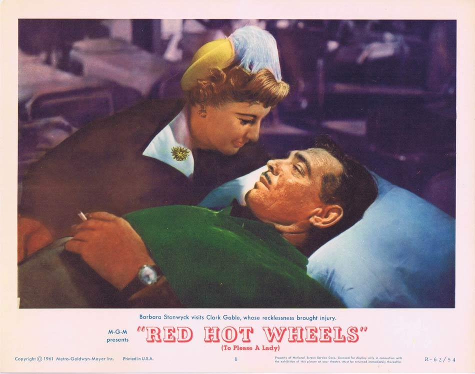 RED HOT WHEELS Lobby Card 1 Clark Gable Barbara Stanwyck To Please a Lady 1962r
