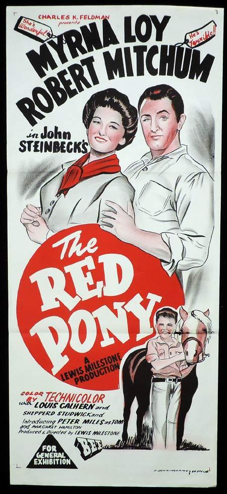 THE RED PONY Original DUOTONE Daybill Movie Poster Robert Mitchum