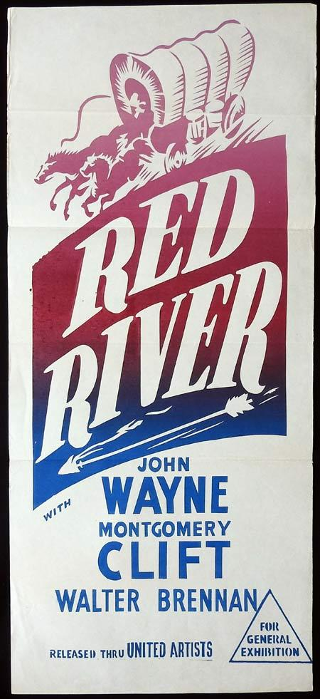 RED RIVER Original 1950s Daybill Movie Poster John Wayne Montgomery Clift
