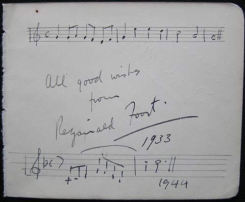 REGINALD FOORT Autograph on an Album Page with handwritten musical score