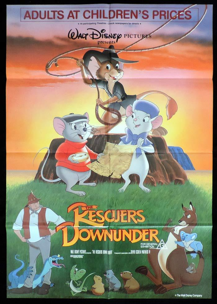 THE RESCUERS DOWN UNDER One Sheet Movie Poster Bob Newhart