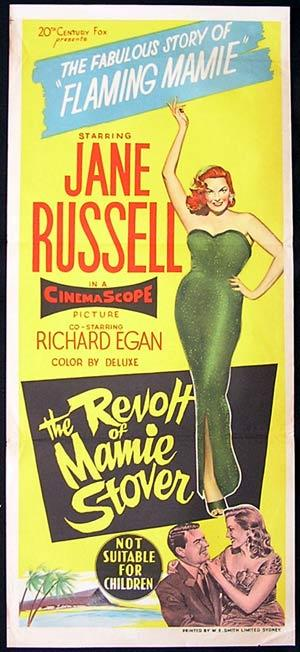REVOLT OF MAMIE STOVER Daybill Movie poster 1956 Jane Russell