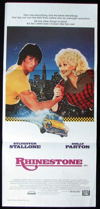 RHINESTONE Daybill Movie poster Dolly Parton Sylvester Stallone