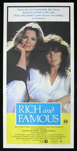RICH AND FAMOUS 1981 Daybill Movie Poster Bisset Bergen