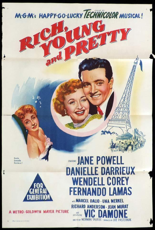 RICH YOUNG AND PRETTY Original One sheet Movie Poster Jane Powell Eiffel Tower