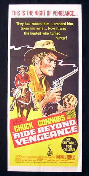 RIDE BEYOND VENGEANCE Chuck Connors RARE Daybill Movie poster