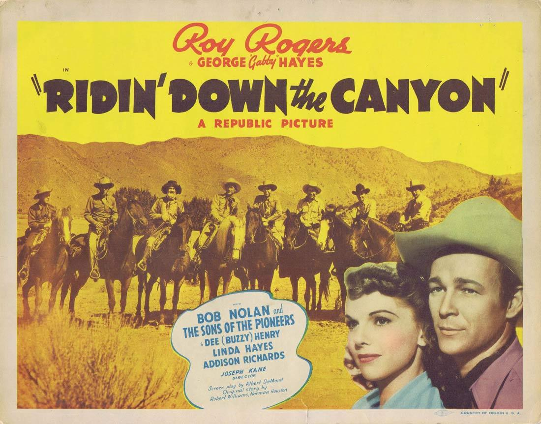 RIDIN DOWN THE CANYON Vintage Title Lobby Card Roy Rogers George Gabby Hayes