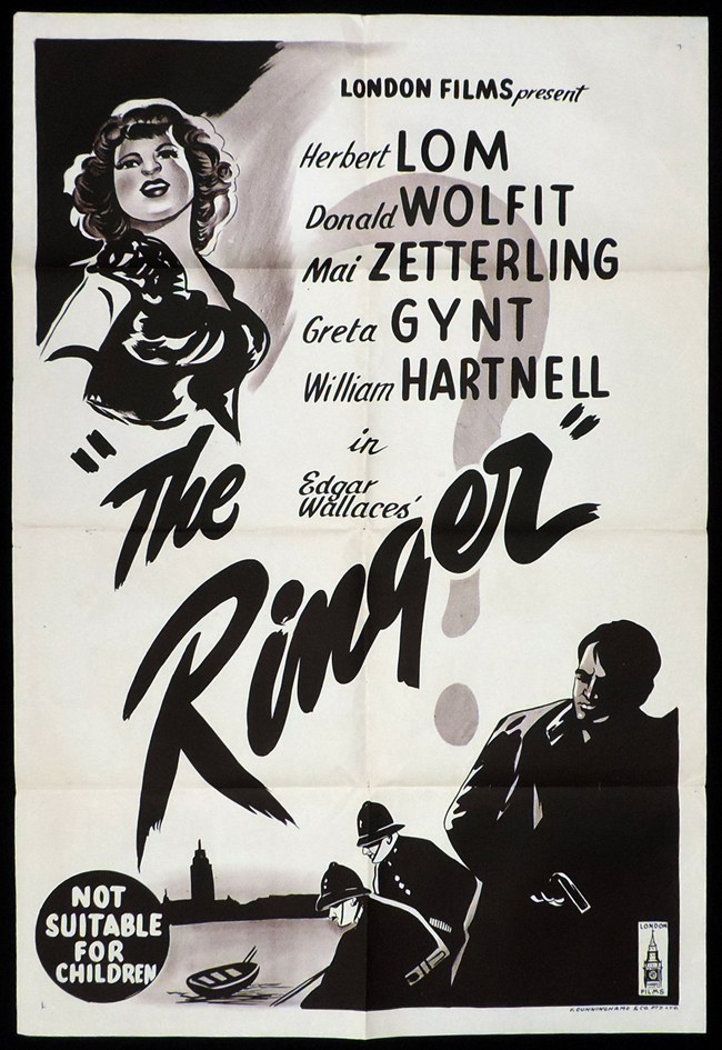 THE RINGER One Sheet Movie Poster Herbert Lom Greta Gynt Film Noir