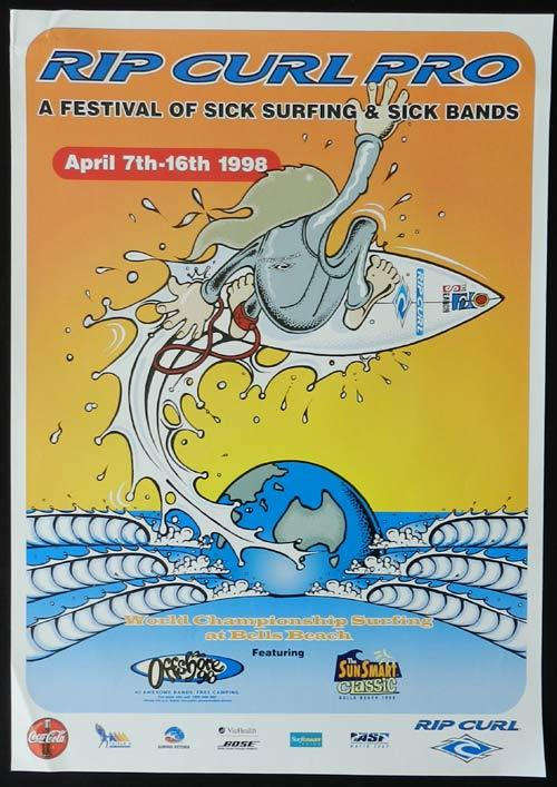 RIP CURL BELL'S BEACH 1998 Movie Poster SURFING