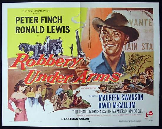 ROBBERY UNDER ARMS Movie Poster 1957 Rare PETER FINCH US half sheet