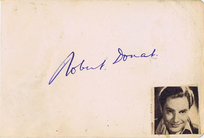 ROBERT DONAT Autograph on an Album Page