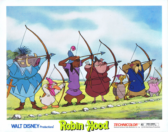 ROBIN HOOD, Lobby Card, Walt Disney Productions, Peter Ustinov, Wolfgang Reitherman, Movie poster