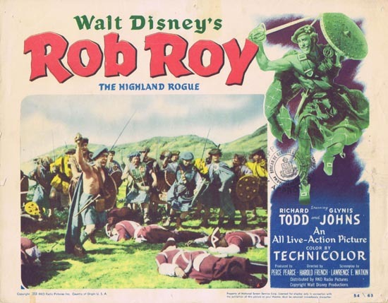ROB ROY 1954 Richard Todd Glynis Johns US Lobby card Disney