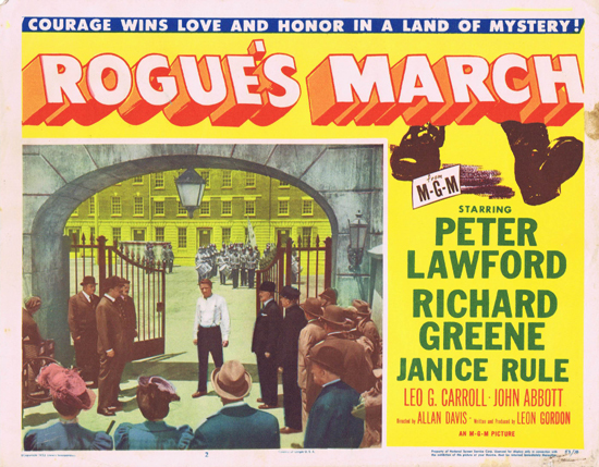 ROGUE'S MARCH 1953 US Lobby Card 2 Peter Lawford