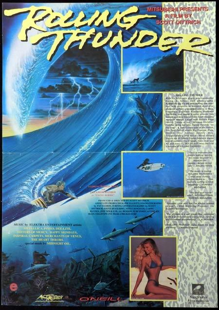 ROLLING THUNDER 1991 Scott Dittrich RARE Surfing Movie poster