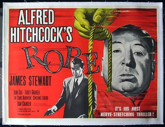 ROPE British Quad Movie Poster 1950s Alfred Hitchcock James Stewart