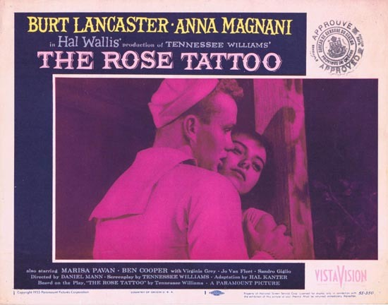 ROSE TATOO 1955 US Lobby card 1 Anna Magnani Tennesse Williams