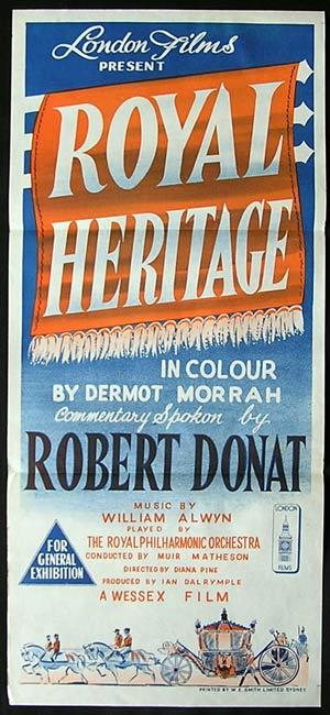 ROYAL HERITAGE Daybill Movie Poster Robert Donat Queen Elizabeth II documentart