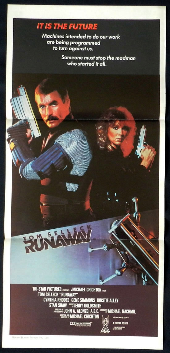 RUNAWAY Australian Daybill Movie Poster Tom Selleck Gene Simmons