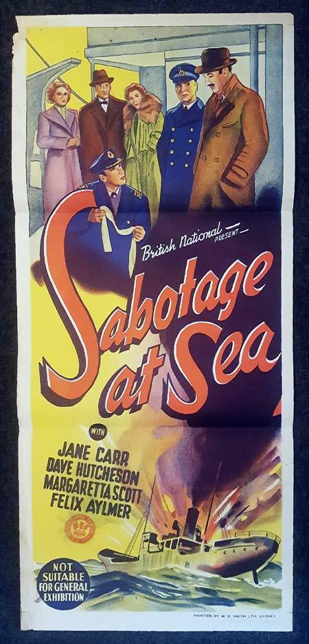 SABOTAGE AT SEA Daybill Movie poster Felix Aylmer Jane Carr