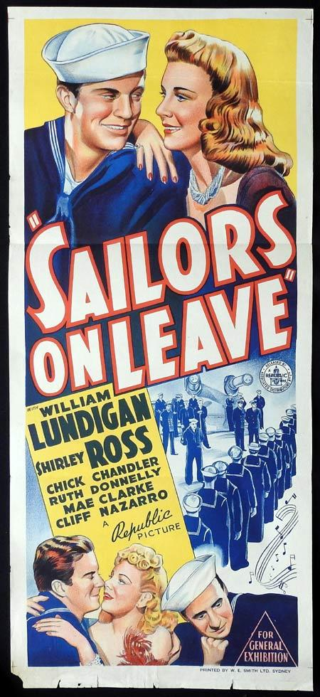 SAILORS ON LEAVE Daybill Movie Poster William Lundigan Shirley Ross