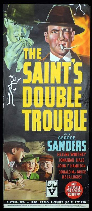 THE SAINT'S DOUBLE TROUBLE Long daybill Movie Poster 1940 George Sanders Bela Lugosi