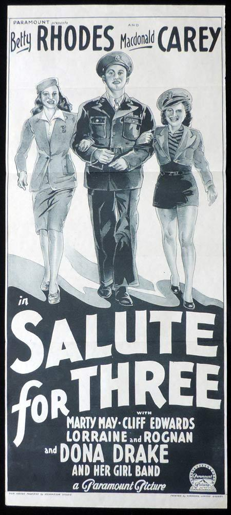 SALUTE FOR THREE Original Daybill Movie Poster Betty Rhodes MacDonald Carey Richardson Studio