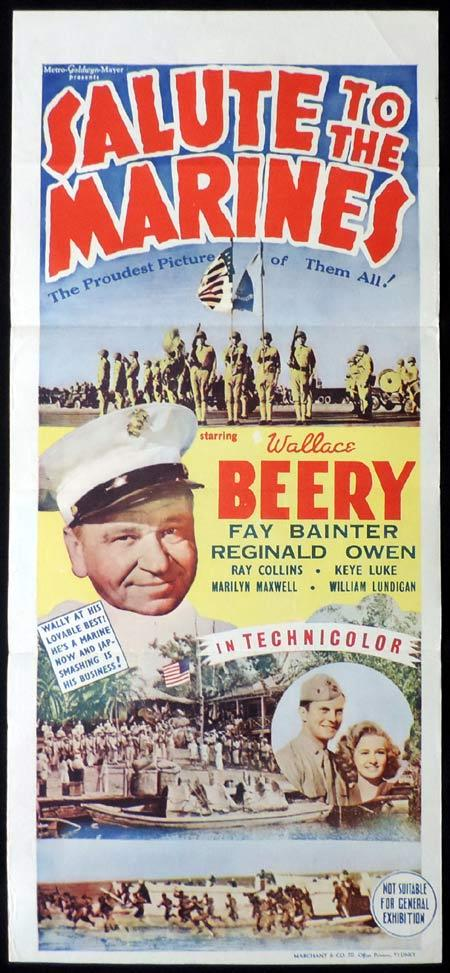SALUTE TO THE MARINES Original Daybill Movie Poster MARCHANT GRAPHICS Wallace Beery