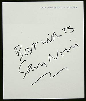 SAM NEILL - Autograph on Qantas Flight