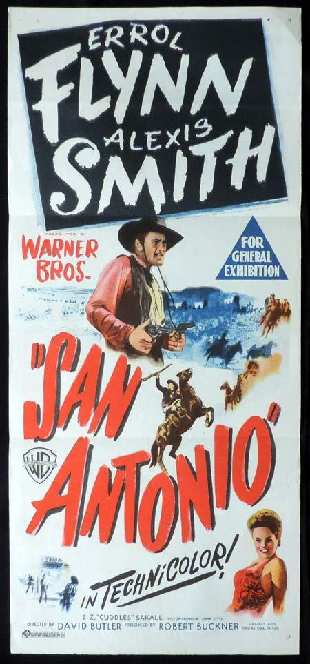 SAN ANTONIO Original Daybill Movie Poster Errol Flynn Alexis Smith