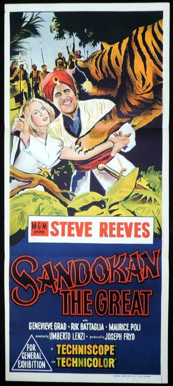 SANDOKAN THE GREAT Daybill Movie poster Steve Reeves