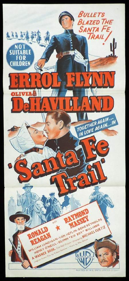 SANTA FE TRAIL, Original Daybill, Movie Poster, ERROL FLYNN, Olivia DeHavilland