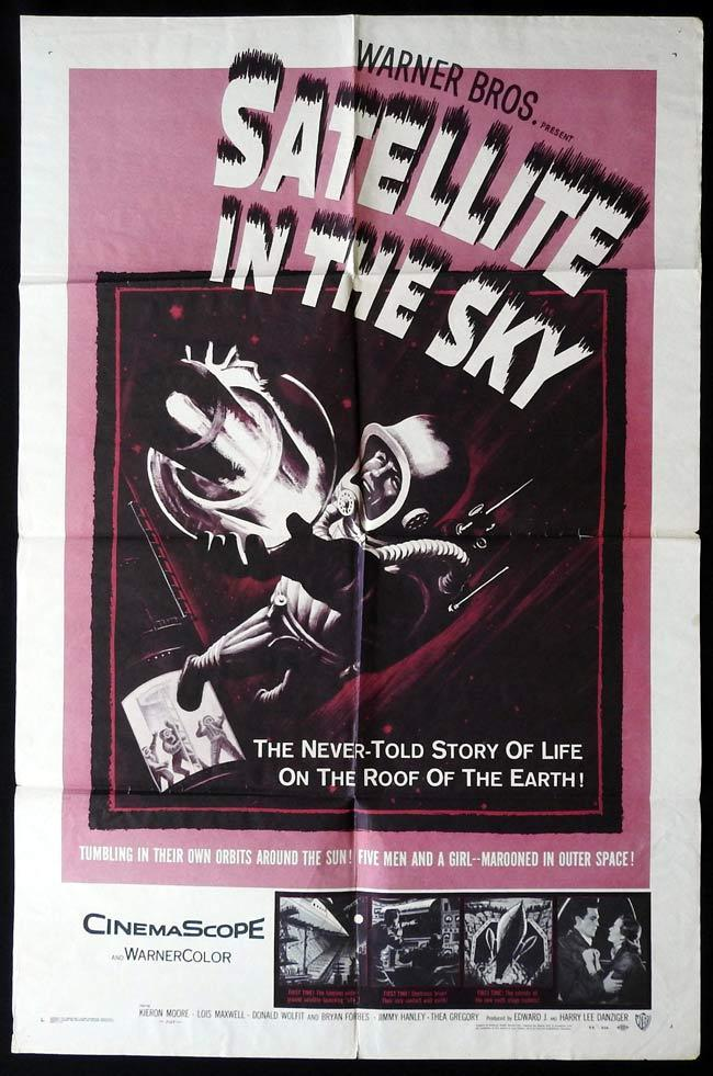SATELLITE IN THE SKY Original US One sheet Movie Poster Sci Fi Kieron Moore Lois Maxwell Donald Wolfit Bryan Forbes