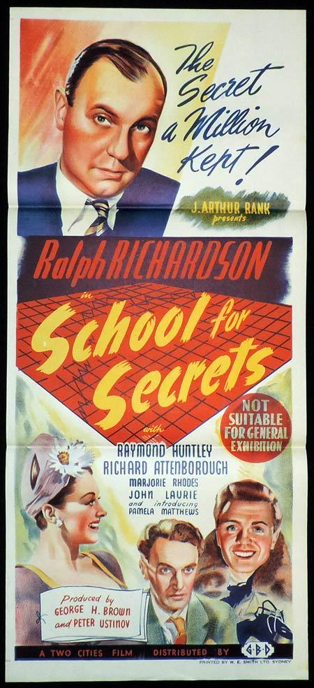 SCHOOL FOR SECRETS Original Daybill Movie Poster Ralph Richardson