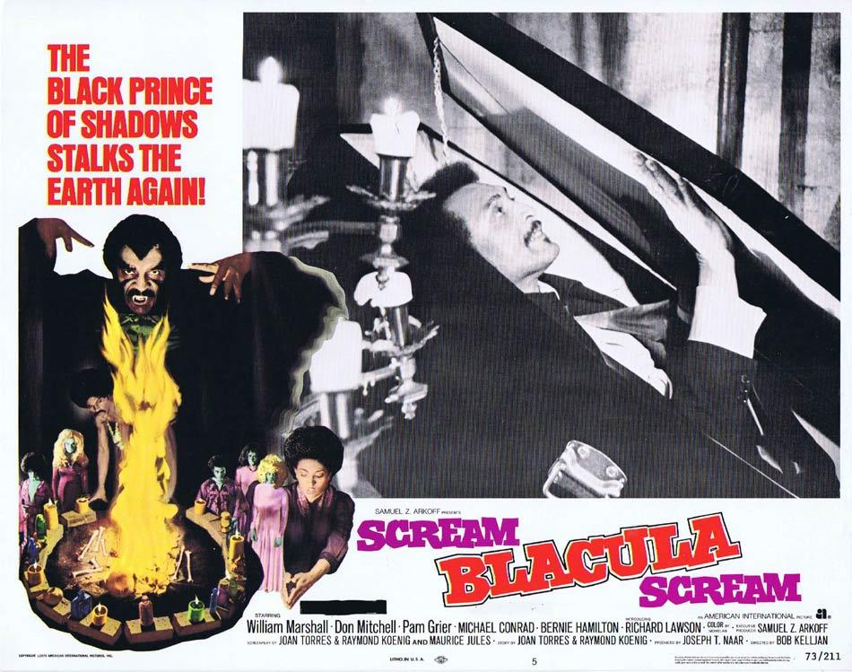 SCREAM BLACULA SCREAM Lobby Card 5 1973 Blaxploitation Horror William Marshall in the Coffin