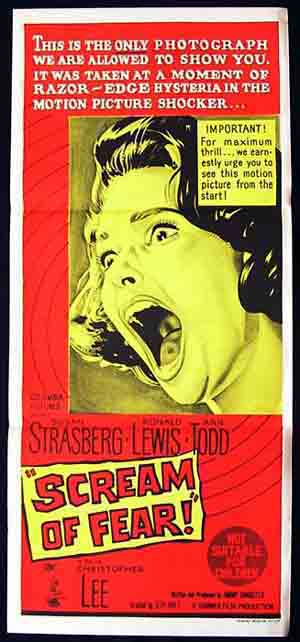 SCREAM OF FEAR Daybill Movie Poster Christopher Lee Hammer Horror